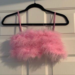 Dolls Kills pink feather crop top pastel aesthetic
